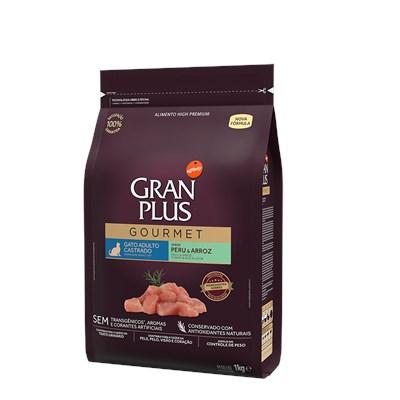 Ração Granplus Gourmet para Gatos Adultos Castrados Peru e Arroz 1kg