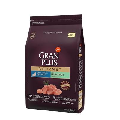 Ração Granplus Gourmet para Gatos Adultos Castrados Peru e Arroz 3kg