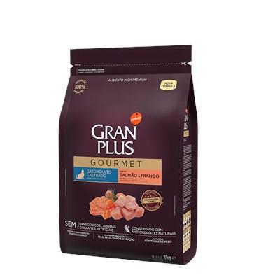 Ração Granplus Gourmet para Gatos Adultos Castrados Salmão e Frango 1kg