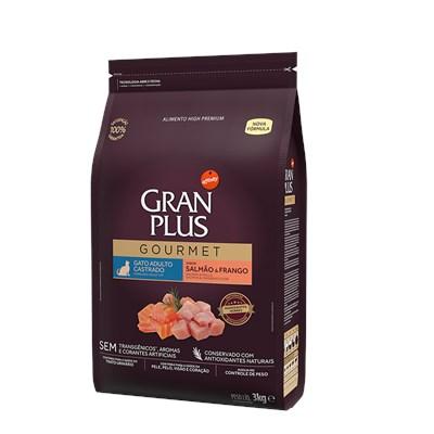 Ração Granplus Gourmet para Gatos Adultos Castrados Salmão e Frango 3kg