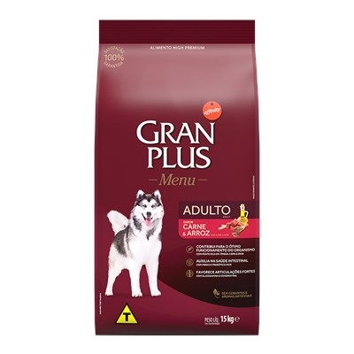 Ração GranPlus Menu cachorros adultos carne e arroz 15,0kg