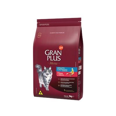 Ração GranPlus Menu gatos adultos castrados carne e arroz 10,1kg