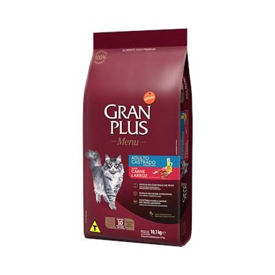 Ração GranPlus Menu gatos adultos castrados carne e arroz pacotes individuais 10,1kg