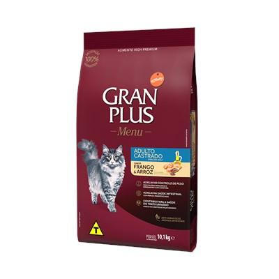 Ração GranPlus Menu gatos adultos castrados frango e arroz 10,1kg