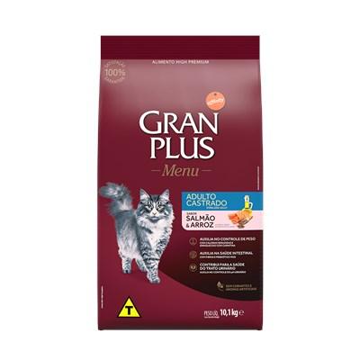 Ração GranPlus Menu gatos adultos castrados salmão e arroz 10,1kg