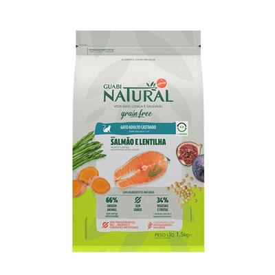 Ração Guabi Natural Grain Free gatos adultos castrados salmão e lentilha 1,5kg