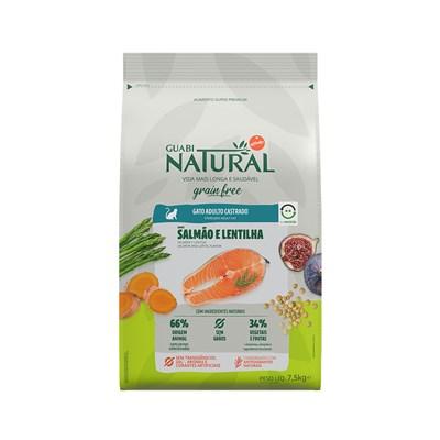 Ração Guabi Natural Grain Free gatos adultos castrados salmão e lentilha 7,5kg