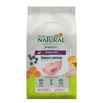 Ração Guabi Natural Grain Free para Cães Adultos de Raças Médias Frango e Lentilha 12kg