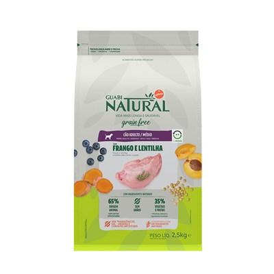 Ração Guabi Natural Grain Free para Cães Adultos de Raças Médias Frango e Lentilha 2,5 kg
