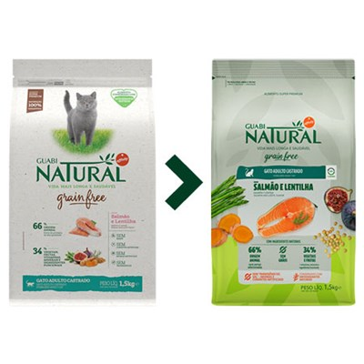 Ração Guabi Natural Grain Free para Gatos Adultos Castrados Salmão e Lentilha 1,5 kg