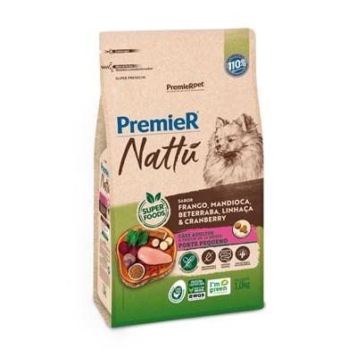 Ração PremieR Nattu cachorros adultos raças pequenas frango, mandioca e linhaça 1,0kg