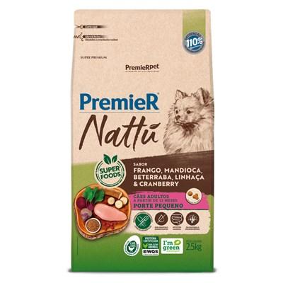 Ração PremieR Nattu cachorros adultos raças pequenas frango, mandioca e linhaça 2,5kg