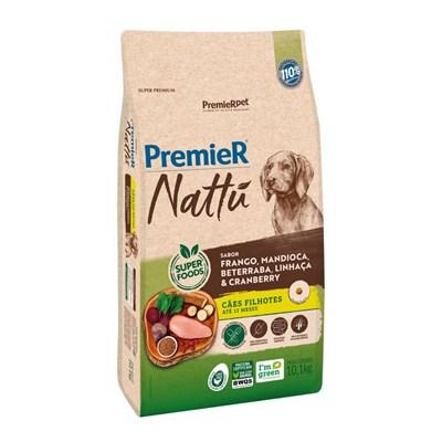 Ração Premier Nattu cachorros filhotes frango, mandioca e beterraba 10,1kg