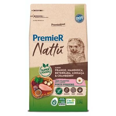 Ração PremieR Nattu cachorros filhotes raças pequenas frango, mandioca e linhaça 1,0kg