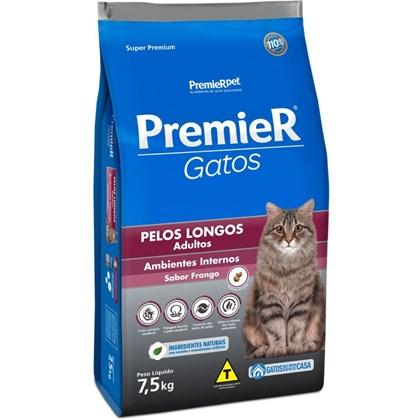 Ração Premier para Gatos Adultos de Pelos Longos Frango 7,5 kg