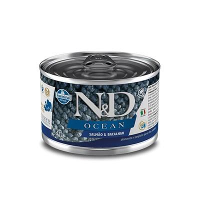 Produto Ração Úmida Lata N&D Ocean para cachorros adultos salmão e bacalhau 140gr