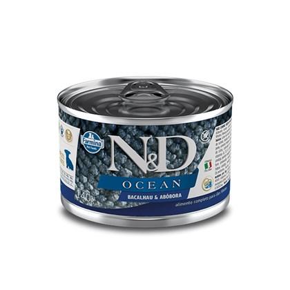 Ração Úmida Lata N&D Ocean para cachorros filhotes bacalhau e abóbora 140gr