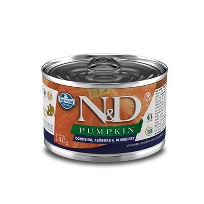Produto Ração Úmida Lata N&D Pumpkin para cachorros adultos cordeiro e blueberry 140gr