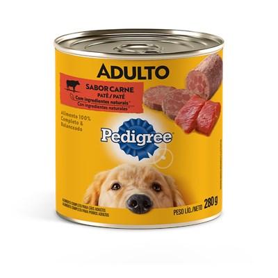 Produto Ração Úmida Lata Pedigree para cachorros adultos patê de carne 280gr