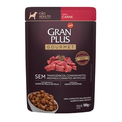 Ração Úmida Sachê GranPlus Gourmet cachorros adultos carne 100gr