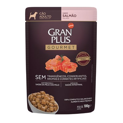 Ração Úmida Sachê GranPlus Gourmet cachorros adultos salmão 100gr