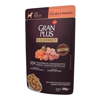 Ração Úmida Sachê GranPlus Gourmet cachorros adultos salmão e frango 100gr