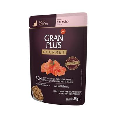Ração Úmida Sachê GranPlus Gourmet gatos adultos salmão 85gr