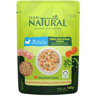 Ração Úmida Sachê Guabi Natural cachorros adultos frango, cereais integrais e vegetais 100gr