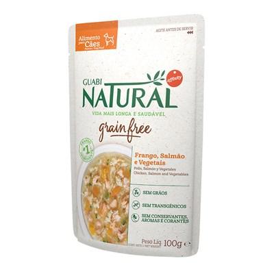 Ração Úmida Sachê Guabi Natural Grain Free cachorros adultos frango, salmão e vegetais 100gr