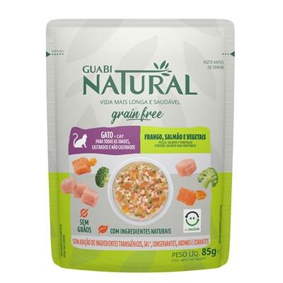 Ração Úmida Sachê Guabi Natural Grain Free gatos adultos castrados frango, salmão e vegetais 85gr