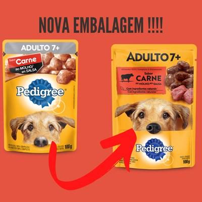 Ração Úmida Sache Pedigree para cachorros adultos +7 anos carne ao molho 100gr