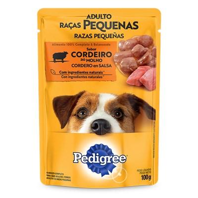 Ração Úmida Sache Pedigree para cachorros adultos de raças pequenas cordeiro ao molho 100gr