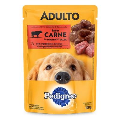 Ração Úmida Sache Pedigree para cachorros adultos raças médias e grandes carne ao molho 100gr