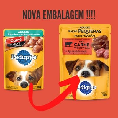 Ração Úmida Sache Pedigree para cachorros adultos raças pequenas carne ao molho 100gr