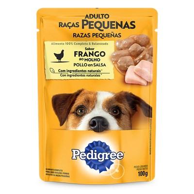 Ração Úmida Sache Pedigree para cachorros adultos raças pequenas frango ao molho 100gr