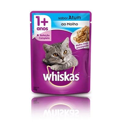 Ração Úmida Sachê Whiskas para gatos adultos atum ao molho 85gr