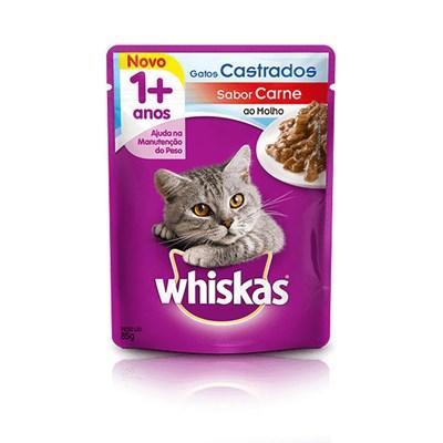 Ração Úmida Sachê Whiskas para gatos adultos castrados carne 85g