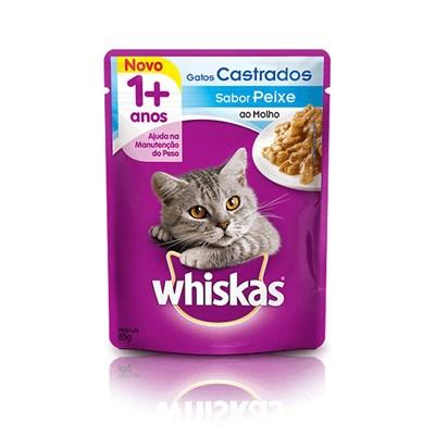 Ração Úmida Sachê Whiskas para gatos adultos castrados peixe 85gr