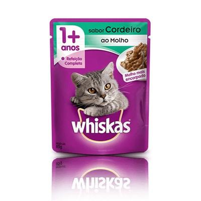 Ração Úmida Sachê Whiskas para gatos adultos cordeiro ao molho 85gr