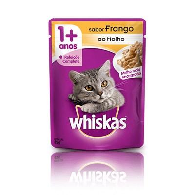 Ração Úmida Sachê Whiskas para gatos adultos frango ao molho 85gr