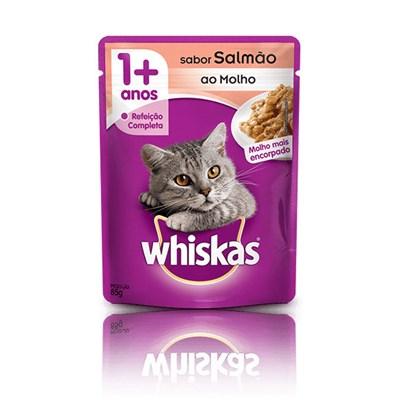 Ração Úmida Sachê Whiskas para gatos adultos salmão ao molho 85gr