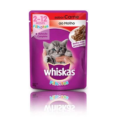 Ração Úmida Sachê Whiskas para gatos filhotes carne 85gr
