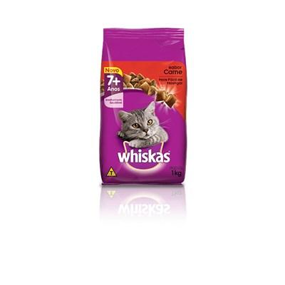Ração Whiskas para gatos adultos +7 Anos carne 1,0kg
