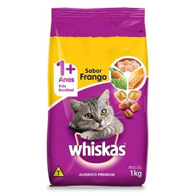 Ração Whiskas para Gatos Adultos Frango Leite 1kg