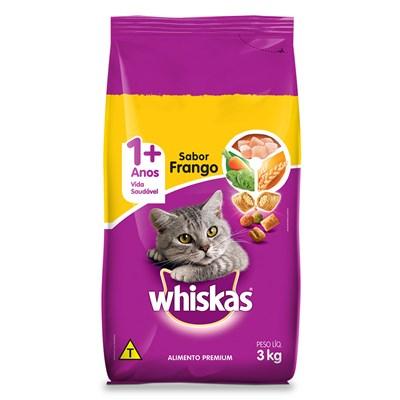 Ração Whiskas para Gatos Adultos Frango Leite 3kg