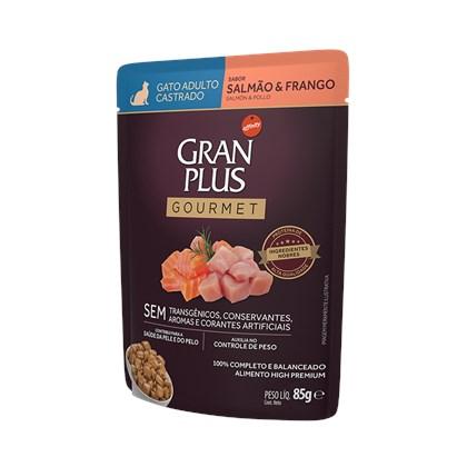 Sachê Granplus Gourmet para Gatos Adultos Castrados Salmão e Frango 85gr