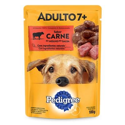 Sachê Pedigree para Cães Adultos com mais de 7 Anos Carne ao Molho 100gr