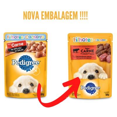 Sachê Pedigree para Cães Filhotes Carne ao Molho 100gr