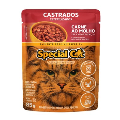 Sachê Special Cat para Gatos Adultos Castrados Carne 85gr