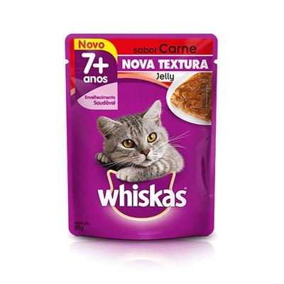 Sachê Whiskas Jelly para Gatos Adultos com mais de 7 Anos Carne 85gr